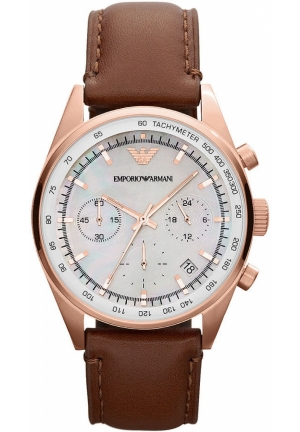 Men's Chronograph Brown Leather Strap 39mm