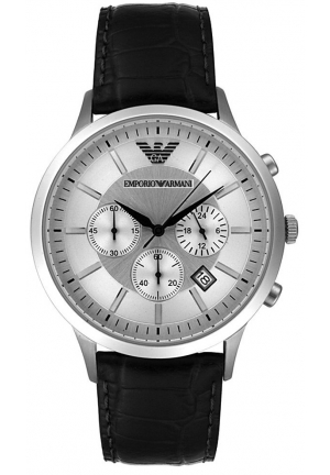 Men's Chronograph Stainless Steel and Black Leather Watch 42.5mm