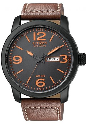 "Men's ""Eco-Drive"" and Synthetic Leather Strap Watch 42mm"
