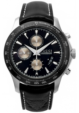 Men's G-Timeless Chronograph Black Dial Black Leather Watch 45mm
