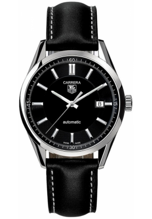 Men's Swiss Automatic Carrera Black Leather Strap 39mm