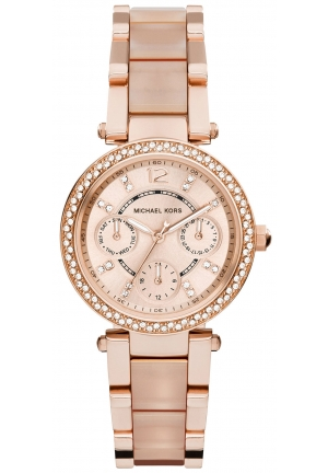 MICHAEL KORS Chronograph Mini Parker Blush and Rose Gold-Tone Stainless Steel Bracelet Watch 33mm