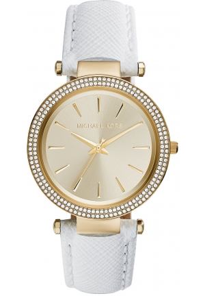 MICHAEL KORS Darci White, Gold Leather Band with Gold Dial Watch 39mm