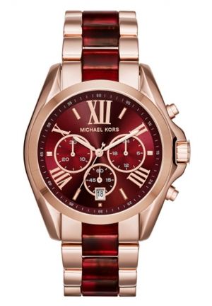 MICHAEL KORS Oversize Bradshaw Rose Gold-Tone and Burgundy Acetate Watch 43mm