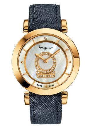 """Minuetto"" Diamond-Accented Gold Ion-Plated Watch with Blue Saffiano Leather Band 36mm"