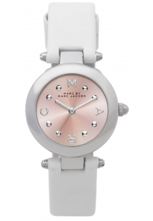 MARC JACOBS Dotty Stainless Steel Watch with White Leather Band 26mm MJ1411