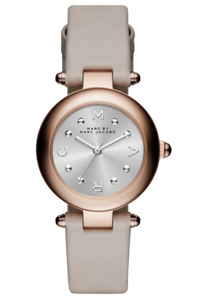 MARC JACOBS Dotty Rose Gold-Tone Watch with Gray Leather Band 26mm MJ1413