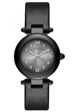 MARC JACOBS Dotty Stainless Steel Watch with Black Leather Band 34mm MJ1415