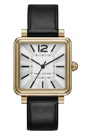 Women's 'Vic' Quartz Stainless Steel and Black Leather Casual Watch