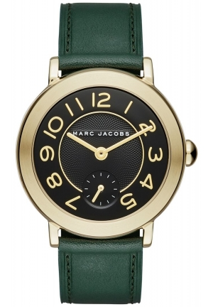 Marc Jacobs Women's Riley Dark Green Leather Strap Watch 36mm