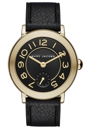 Marc Jacobs Ladies Riley Black Leather Strap Watch