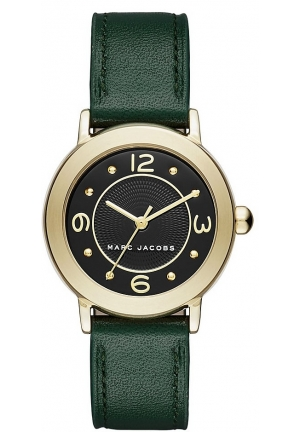 Marc Jacobs Women's Riley Dark Green Leather Strap Watch 28mm