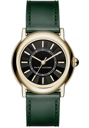 Marc Jacobs Women's Courtney Dark Green Leather Strap Watch 34mm
