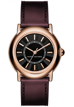 Marc Jacobs Women's Courtney Oxblood Leather Strap Watch 34mm