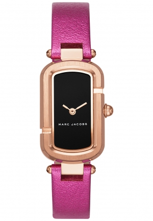 MARC JACOBS Rose Gold-Tone Fuchsia Leather Watch -