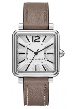 Marc Jacobs Vic Cement Leather Strap Watch