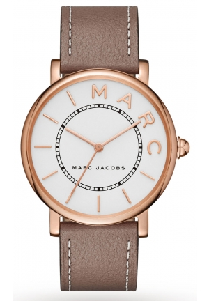 Marc Jacobs Roxy Silver Dial Ladies Cement Leather Watch