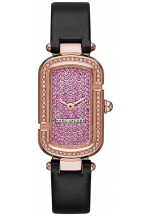 The Jacobs Rose Gold-Tone and Black Leather Two-Hand Watch