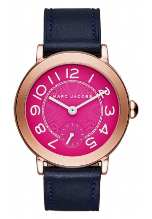 Marc Jacobs Women's Riley Navy Leather Strap Watch 28mm