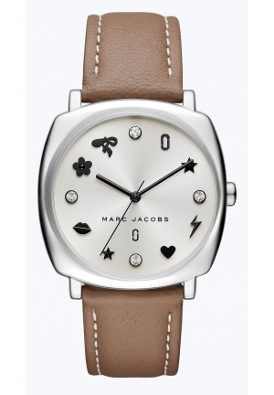 Mandy Cement Leather Strap Watch 34x34mm