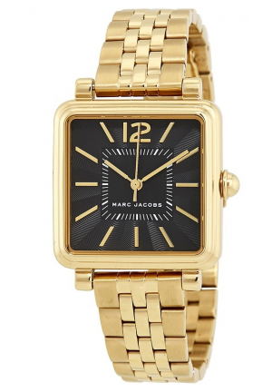 Marc Jacobs Vic Black Dial Ladies Gold Tone Watch