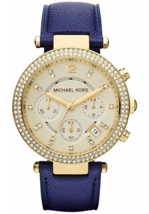 MK2280 Michael Kors Mid-Size Navy Leather Parker Glitz Watch 39MM