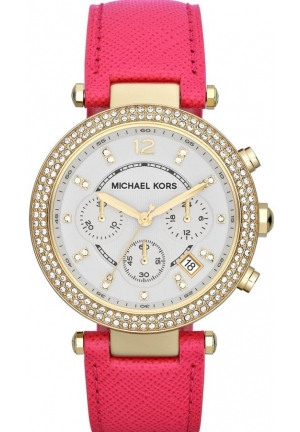 MICHAEL KORS Chronograph Parker Pink Leather Strap Watch 39mm