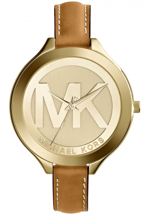 MICHAEL KORS Slim Runway Leather and Gold-Tone Watch 42mm