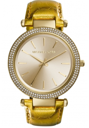 Darci Gold-Tone Metallic Leather Strap Watch 39mm