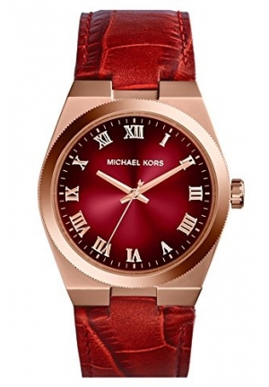 Channing Red Crocodile-Embossed Leather Rose Gold-Tone Stainless Steel Watch