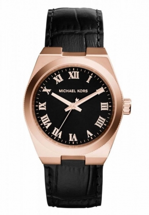 MICHAEL KORS Channing Black Crocodile-Embossed Leather Rose Gold-Tone Stainless Steel Watch
