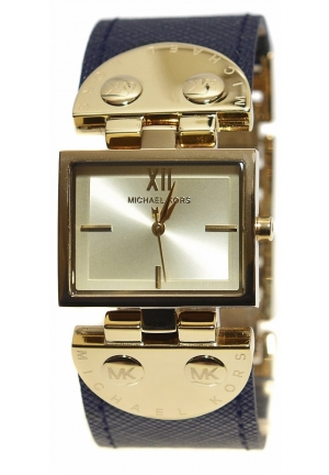 Michael Kors Rectangle Gold Navy Blue Saffiano Leather Band Women's Watch 28mm