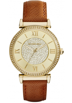 MICHAEL KORS Catlin Luggage Leather Strap Watch 38mm