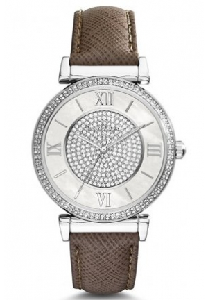 MICHAEL KORS Catlin brown leather watch 38mm