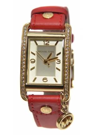 MICHAEL KORS Red Leather Band Charm Women's Watch with Crystals