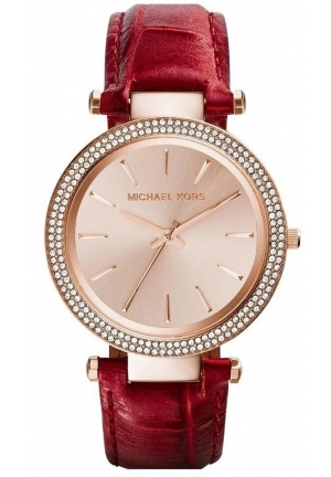 Darci Crystal Bezel Leather Strap Ladies Watch 39mm