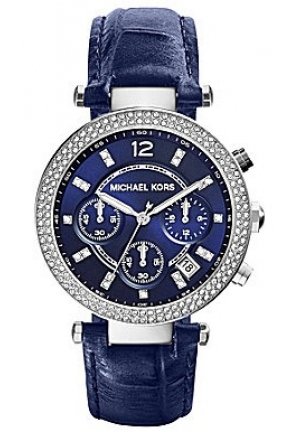 Parker Stainless Steel Case Blue Calfskin Mineral Watch 39mm