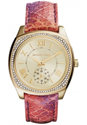 Michael Kors Women's Bryn Multicolor Python-Painted Leather Strap Watch 40mm
