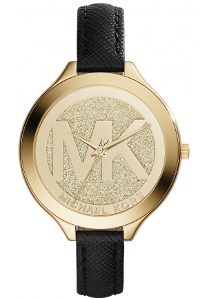 MICHAEL KORS  Slim Runway Pavé Gold-Tone And Leather Watch