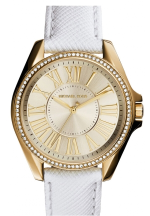 MICHAEL KORS Kacie' Crystal Bezel Leather Strap Watch, 39mm