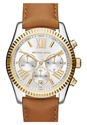 MICHAEL KORS 'Lexington' Chronograph Leather Strap Watch, 37mm