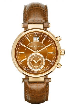 MICHAEL KORS  Sawyer Gold-Tone And Embossed-Leather Watch