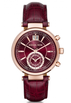 MICHAEL KORS  Sawyer Rose Gold-Tone And Embossed-Leather Watch