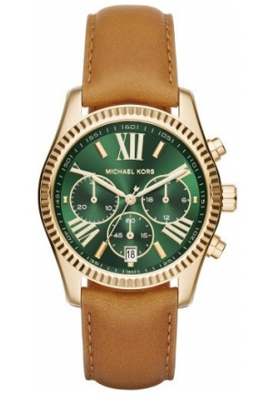MICHAEL KORS  Lexington Gold-Tone And Leather Watch