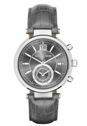MICHAEL KORS Sawyer Silver-Tone and Embossed-Leather Watch 39mm