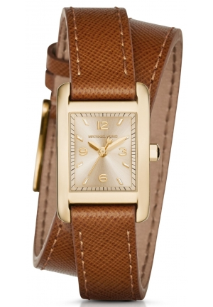 MICHAEL KORS  Taylor Gold-Tone And Leather Wrap Watch