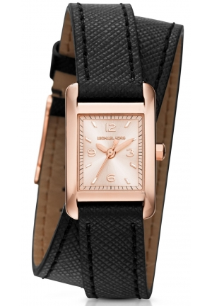 MICHAEL KORS  Taylor Rose Gold-Tone And Leather Wrap Watch