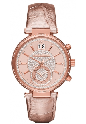 MICHAEL KORS  Sawyer Rose Gold-Tone And Leather Watch