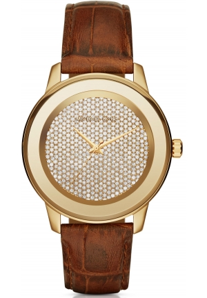 MICHAEL KORS  Kinley Pavé Gold-Tone And Leather Watch 41mm