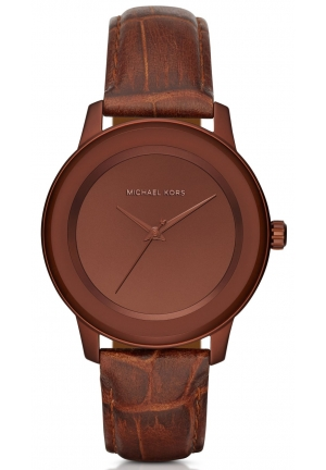 MICHAEL KORS  Kinley Pavé Copper-Tone And Leather Watch 41mm